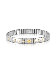 Nomination Stainless Steel Women's Bracelet W White Pearls And Golden Heart Silver
