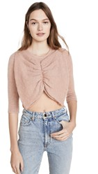 Joostricot Bow Crop Mohair Sweater Dewy Pink