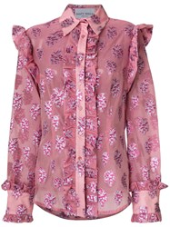 Daizy Shely Lurex Shirt Silk Metallic Fibre Pink Purple
