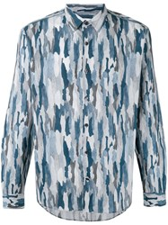 Cerruti 1881 Camouflage Shirt Men Cotton 40 Blue