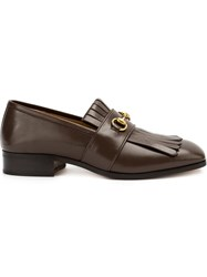 Gucci Horsebit Fringed Loafers Brown