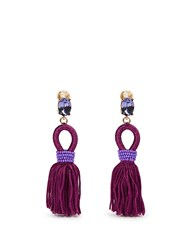 Oscar De La Renta Short Tassel Drop Clip On Earrings Purple