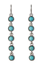 Spring Street Linear Turquoise Drop Earrings Blue