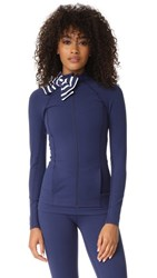 Beyond Yoga X Kate Spade New York Sailing Stripe Neck Bow Jacket Navy