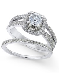 Macy's Diamond Bridal Set 1 1 8 Ct. T.W. In 14K White Gold