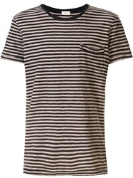 Osklen Striped Short Sleeve T Shirt Black