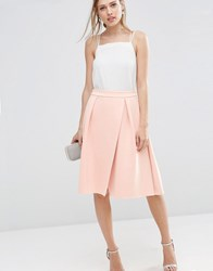 Asos Scuba Prom Skirt With Wrap Blush Pink