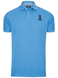 Hackett London New Classic Number Polo Shirt Azure Blue