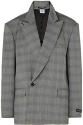 Vetements Oversized Prince Of Wales Checked Woven Blazer Gray
