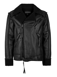 Topman Rogues Of London Black Faux Shearling Collar Jacket