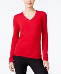 Charter Club Cashmere V Neck Sweater Only At Macy's 18 Colors Available New Red Amore