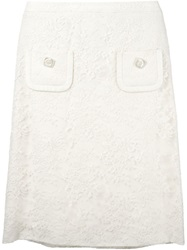 Christian Dior Vintage Lace Skirt White