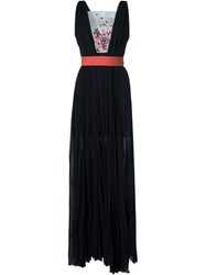Msgm Embellished Panel Pleated Gown Black