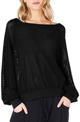 Michael Stars Open Stitch Sweatshirt Black