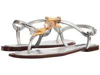 Dolce And Gabbana Metallic Thong Sandal With Seashell Jewels Silver