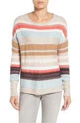 Caslonr Women's Caslon Back Button Stripe Knit Sweater Oatmeal Multi Stripe