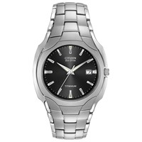 Citizen Bm6560 54H Men's Eco Drive Titanium Bracelet Strap Watch Silver Black