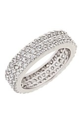 Sterling Forever Silver Triple Row Cz Band Ring Metallic