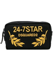 Dsquared2 24 7 Embroidered Wash Bag Men Cotton Leather Polyester One Size Black