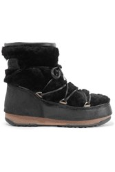 Moon Boot Shearling And Coated Suede Snow Boots Black