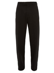 Ann Demeulemeester High Rise Wool Blend Twill Straight Leg Trousers Black