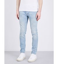 Sandro E17 Distressed Slim Fit Mid Rise Jeans Blue Vintage