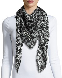 Faded Sand Camo Print Square Scarf Gray Kenzo