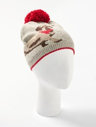 John Lewis Collection Weekend By Sausage Dog Print String Pom Beanie Hat Grey Multi