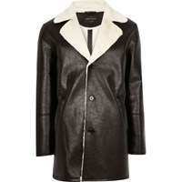 River Island Mensblack Leather Look Shearling Lined Coat