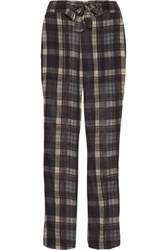 Etoile Isabel Marant Vernon Checked Cotton Gauze Straight Leg Pants Dark Brown