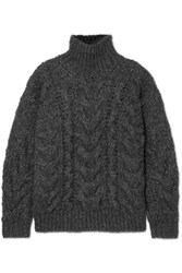 Iro Sirah Oversized Cable Knit Turtleneck Sweater Charcoal
