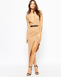 Naanaa Plunge Neck Sleeveless Belted Pencil Dress With Asymmetric Wrap Skirt Tan