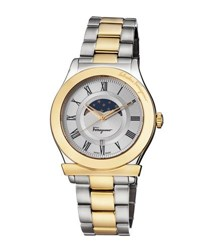 Salvatore Ferragamo 40Mm 1898 Sport Men's Moon Phase Two Tone Bracelet Watch Multi