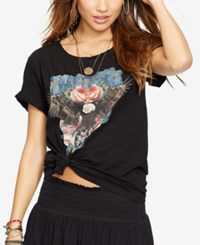 Denim And Supply Ralph Lauren Dream Catcher Draped Tee Polo Black Copious Roses