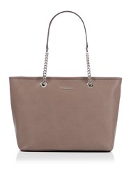 Michael Kors Jetset Travel Taupe Chain Top Zip Tote Taupe