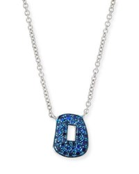 Mattioli Puzzle Blue Sapphire Pendant Necklace In 18K White Gold