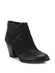 Franco Sarto Side Zipper Suede Ankle Boots Black
