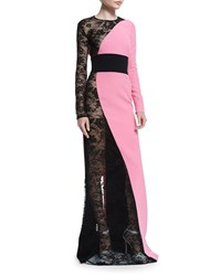 Fausto Puglisi Long Sleeve Lace Crepe Combo Gown Pink