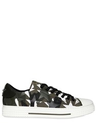 Valentino Camustars Leather And Canvas Sneakers