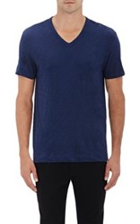Theory Men's Gaskell Cotton V Neck T Shirt Blue