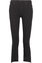 Mother The Insider Crop High Rise Flared Jeans Black