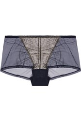 Cosabella Cleope Low Rise Metallic Lace Paneled Tulle Briefs Storm Blue