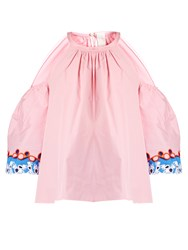 Peter Pilotto Embroidered Cuff Cold Shoulder Top Pink