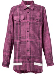Off White Oversize Check Shirt Men Linen Flax M Pink Purple