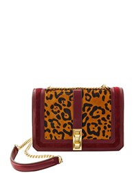 Brian Atwood Animal Printed Chainlink Crossbody Bag Leopard