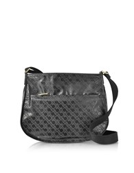 Gherardini Handbags Signature Fabric And Leather Softy Small Shoulder Bag W Zip Front Pocket
