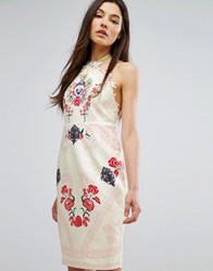 Comino Couture Halter Neck Printed Midi Dress Cream Red