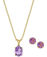 Victoria Townsend Amethyst 3 Ct. T.W. And Diamond Accent Jewelry Set In 18K Gold Over Sterling Silver