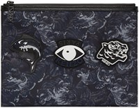 Kenzo Black And Navy Nylon Flying Tiger Pouch