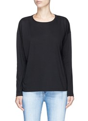 Vince Pima Cotton Compact Jersey Long Sleeve T Shirt Black